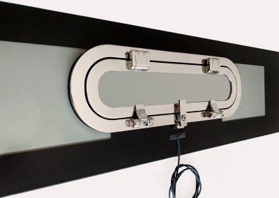 Oblo a filo della serie double flat 110 x 490 con filo elettrico per allarme ottico